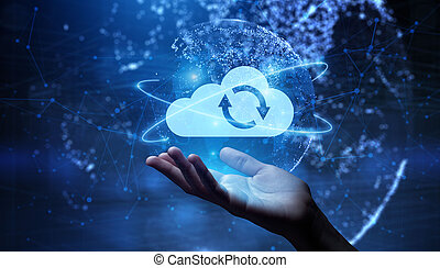 Cloud technology computing networking concept on virtual interface.