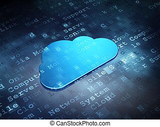 Cloud technology concept: Blue Cloud on digital background