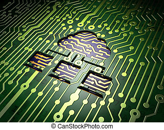 Cloud technology concept: Cloud Network on circuit board background