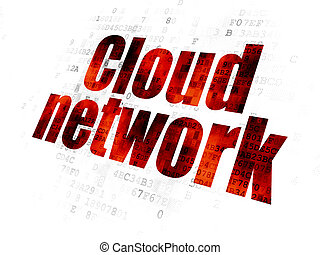 Cloud technology concept: Cloud Network on Digital background