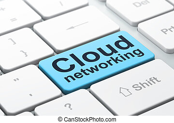 Cloud technology concept: Cloud Networking on computer keyboard background