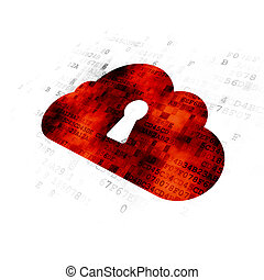 Cloud technology concept: Cloud With Keyhole on Digital background