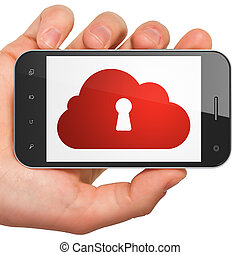 Cloud technology concept: Cloud With Keyhole on smartphone