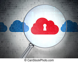 Cloud technology concept: Cloud With Keyhole with optical glass