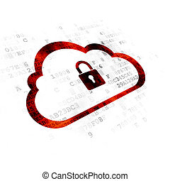 Cloud technology concept: Cloud With Padlock on Digital background