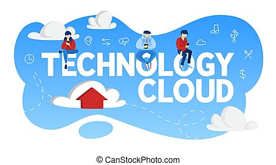 Cloud technology concept. Data storage in the internet