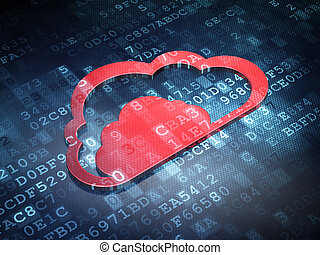 Cloud technology concept: Red Cloud on digital background