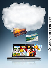 Conceptual image of cloud technology in storage and sharing of files
