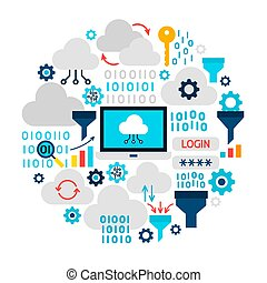 Cloud Technology Icons Circle