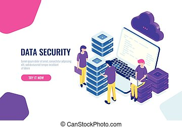 Cloud technology isometric icon, teamwork in datacenter, server room, and database, big data processing, cartoon character vector people