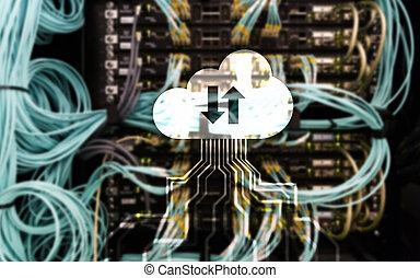Cloud technology, networking, data storage. Internet concept.