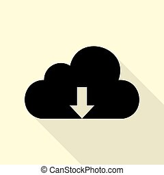 Cloud technology sign. Black icon with flat style shadow path on cream background.