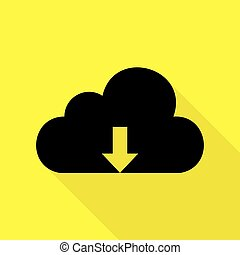 Cloud technology sign. Black icon with flat style shadow path on yellow background.