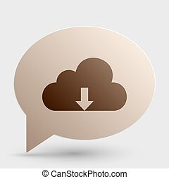 Cloud technology sign. Brown gradient icon on bubble with shadow.