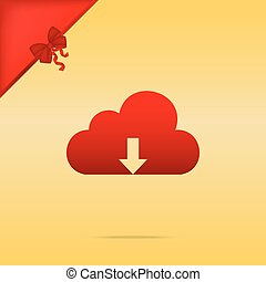 Cloud technology sign. Cristmas design red icon on gold background.