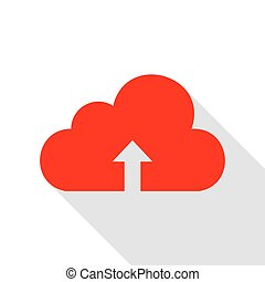 Cloud technology sign. Red icon with flat style shadow path.