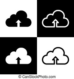Cloud technology sign. Vector. Black and white icons and line icon on chess board.