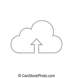 Cloud technology sign. Vector. Black dotted icon on white background. Isolated.