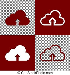 Cloud technology sign. Vector. Bordo and white icons and line icons on chess board with transparent background.