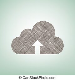 Cloud technology sign. Vector. Brown flax icon on green background with light spot at the center.
