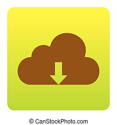 Cloud technology sign. Vector. Brown icon at green-yellow gradient square with rounded corners on white background. Isolated.