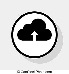 Cloud technology sign. Vector. Flat black icon in white circle with shadow at gray background.