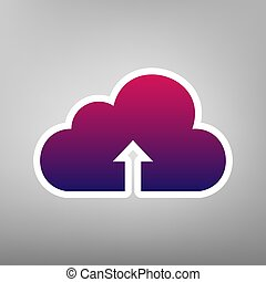 Cloud technology sign. Vector. Purple gradient icon on white paper at gray background.