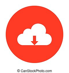 Cloud technology sign. White icon on red circle.