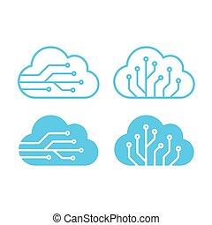 Cloud technology sumbols set