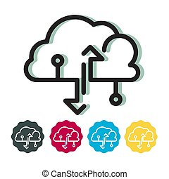 Cloud Technology Upload Download Data Icon