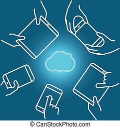 Cloud technology usage with modern gadgets. Lineart vector illustration