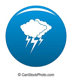 Cloud thunder flash icon blue