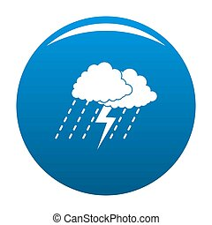 Cloud thunder icon blue