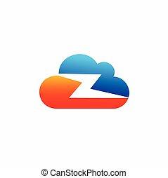 cloud thunder vector, cloud logo design
