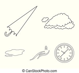 Cloud, umbrella, the north wind, a puddle on the ground. The weather set collection icons in outline style vector symbol stock illustration web.