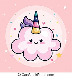 cloud unicorn kawaii style with cute decoration