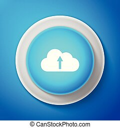 Cloud upload icon isolated on blue background. Circle blue button. Vector Illustration