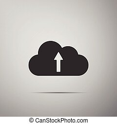 Cloud upload icon isolated on grey background. Flat design. Vector Illustration