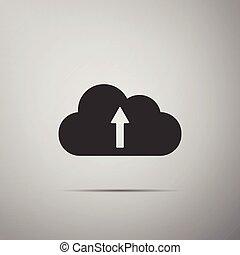 Cloud upload icon isolated on grey background. Flat design. Vector Illustration