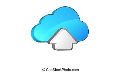 Cloud Upload - Icon of uploading data on cloud storage....