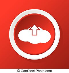 Cloud upload icon on red