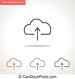 cloud upload vector line icon isolated on white background