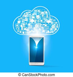 cloud upload with apps illustration - Vector illustration of...