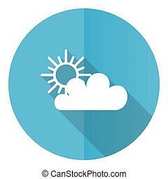Cloud vector icon, flat design blue round web button isolated on white background