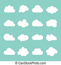 Cloud vector icon set on blue background