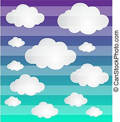 Cloud vector icon set white color