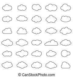 Cloud vector icon set white color on blue background. Sky flat illustration collection for web. Vector illustration