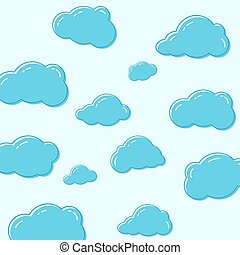 Cloud vector icons. - Abstract background with cartoon...
