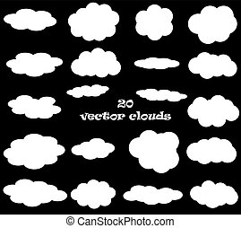 Cloud vector icons isolated over black background