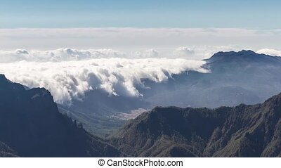 Cloud waterfall phenomenon at La Palma island, Spain - Time...